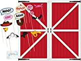 Farm Party Supplies - Farm Animal Photo Booth Props and Backdrop - Perfect Barnyard Farm Animal Party Decorations!