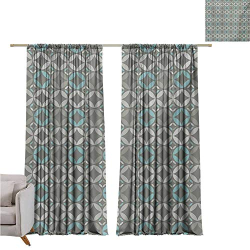 RenteriaDecor Grey and Blue,Room Divider Curtain Retro Styled Abstract Overlapping Circles with Color Details W120 x L96 Rod -