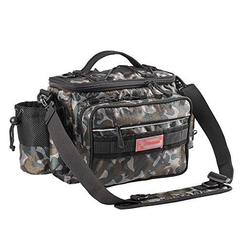 Shoulder Bag Woodland (Fiblink Waterproof Outdoor Multifunctional Fishing Tackle Bag Shoulder Bag and Handbag or Waist Bag Fishing Gear Storage for Fishing Hiking Climbing (Woodland camouflage))