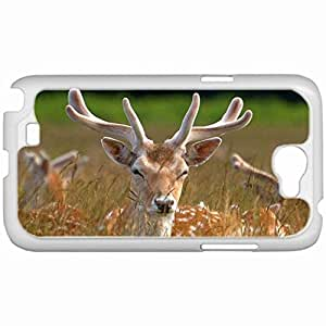 Custom Fashion Design Samsung Galaxy NOTE 2 SII Back Cover Case Personalized Customized Samsung Note 2 Diy Gifts In Beautiful deer White