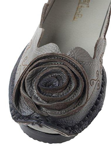 Vogstyle Flats Art Blumen Grau Lederschuhe Damen Handgemachte Weinlese 8 gwqnxgrvX
