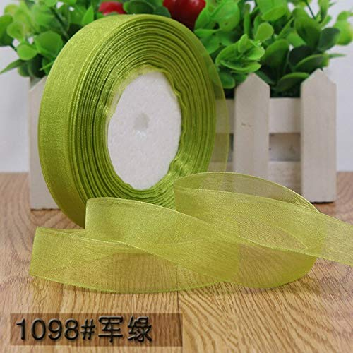 Jammas 50 Yards/roll 3/4''(20mm) Army Green Organza Ribbons Wholesale Gift Wrapping Decoration Ribbons Belt Gift Packing 45merters - (Color: Army - Wholesale Organza Ribbon