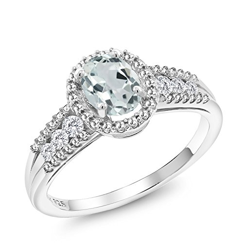 - 925 Sterling Silver Sky Blue Aquamarine Women's Ring (0.90 Ct Oval Available in size 5, 6, 7, 8, 9)
