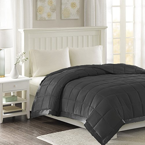 Luxlen. Microfiber Blanket with Satin Edge | Down | Down Alternative, Queen, Black