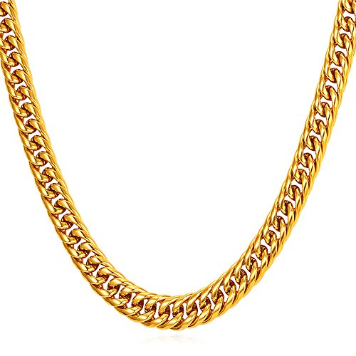 U7 Stainless Jewelry Necklace 6mm 12mm