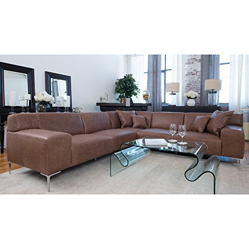 Elements Fine Home Industrial Top Grain Leather Dual Loveseat Sectional in