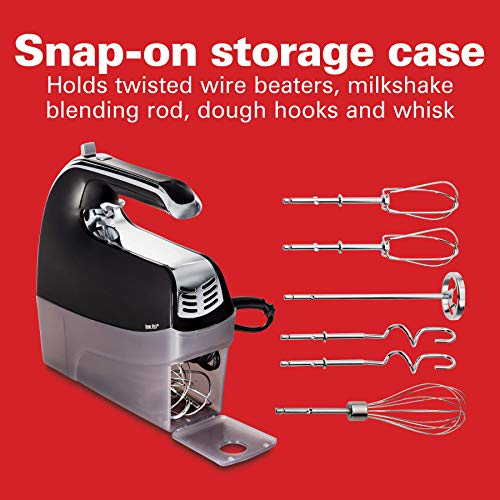 Hamilton Beach 6-Speed Electric Hand Mixer with Snap-On Case, Twisted Wire Beaters, Milkshake Rod, Dough Hooks, Whisk, Black (62620)