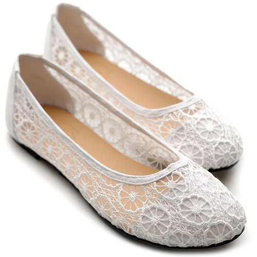 Ollio Women's Ballet Shoe Floral Lace Breathable Flat