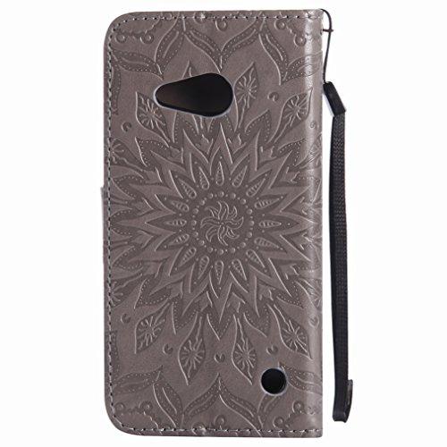 Yiizy Microsoft Lumia 550 Custodia Cover, Sole Petali Design Sottile Flip Portafoglio PU Pelle Cuoio Copertura Shell Case Slot Schede Cavalletto Stile Libro Bumper Protettivo Borsa (Grigio)