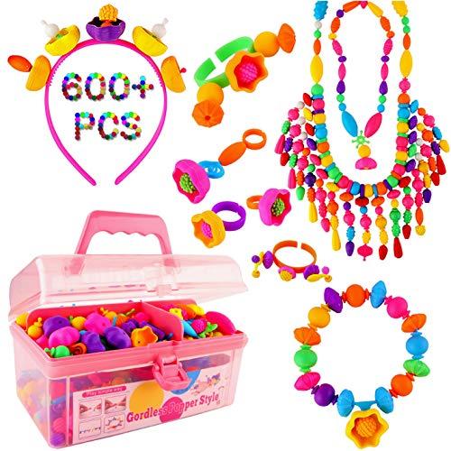 Vickid Pop Beads, Arts and Crafts for Kids Girls Age3,4,5,6,7,8,9-Best Birthday Toy,DIY for Kids-Bracelet Necklace Ring Jewelry Making Kit,Friendship Bracelets Maker(580pcs)