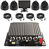 Wen&Cheng 4CH Mobile AHD DVR 3G GPS Realtime Video/Audio Recorder with Remote Control + 4 pcs 24 IR LED Dome Indoor Camera + 4pcs Cables + 7 inch TFT LCD Screen Color Monitor Surveillance Kit