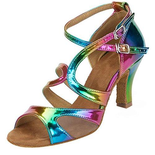 Ballroom Dance cm Color heel 5 Suede Tango Women's Rainbow 2 Latin HXYOO Salsa Sole Shoes inches 8 5 Heels x01BwpnqCC
