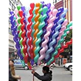FUNPRT 40 Inches Latex Spiral Balloons,100 Count,Assorted Boys Girls Birthday Party Balloon
