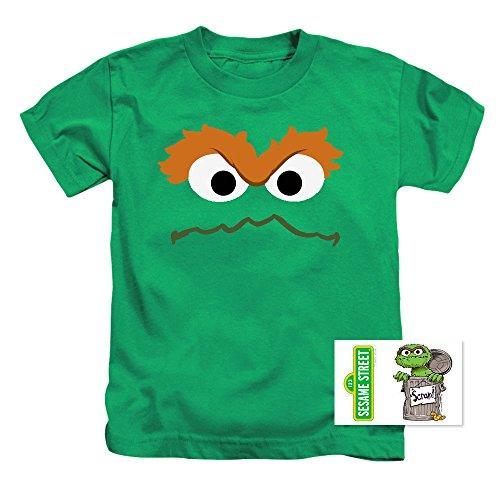Toddler Oscar The Grouch Face Sesame Street T Shirt (3T)