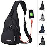 Sling Bag Men Chest Shoulder Backpack Crossbody Bag with USB Charging Port for Women Hiking Cycling Camping Daypacks