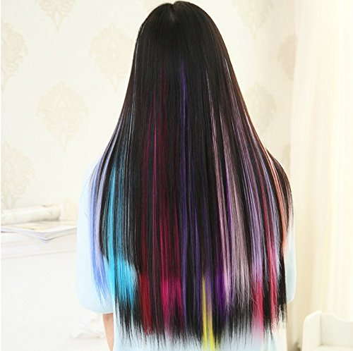 OneDor 23 Inch Colored Party Highlights Straight Hair Clip Extensions. Heat-Resistant Synthetic Hair Extensions in Multiple Colors (Full Color Set 12 Pcs) by Onedor (Image #7)