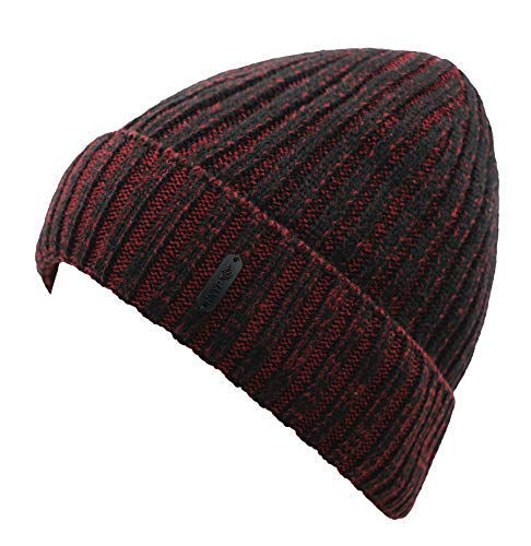 Connectyle Classic Men's Warm Winter Hats Thick Knit Cuff Beanie Cap with Lining (Wine ()