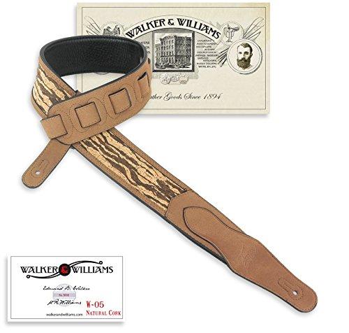 Leather Tigers (Walker & Williams W-05 Natural Tiger Stripe Cork & Leather Guitar Strap)