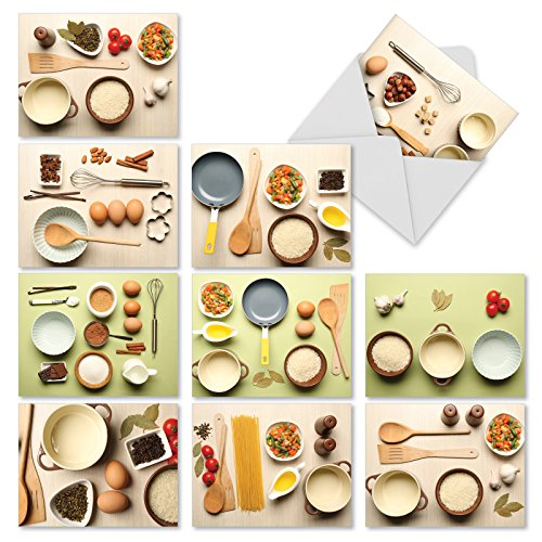 10 'Culinary Cards' Note Cards (with Envelopes), Assorted Cooking-Themed Blank Greeting Cards, All Occasion Stationery for Weddings, Birthdays, Holidays, Thank You 4 x 5.12 inch M1733BN