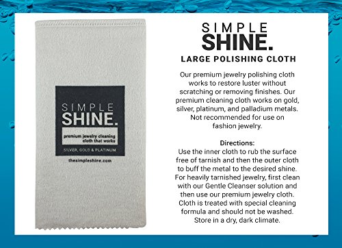 Large Oversized Premium Jewelry Cleaning Cloth | Jewelry Polishing Cloth Cleaner Gold, Silver, Platinum by Simple Shine (Image #2)