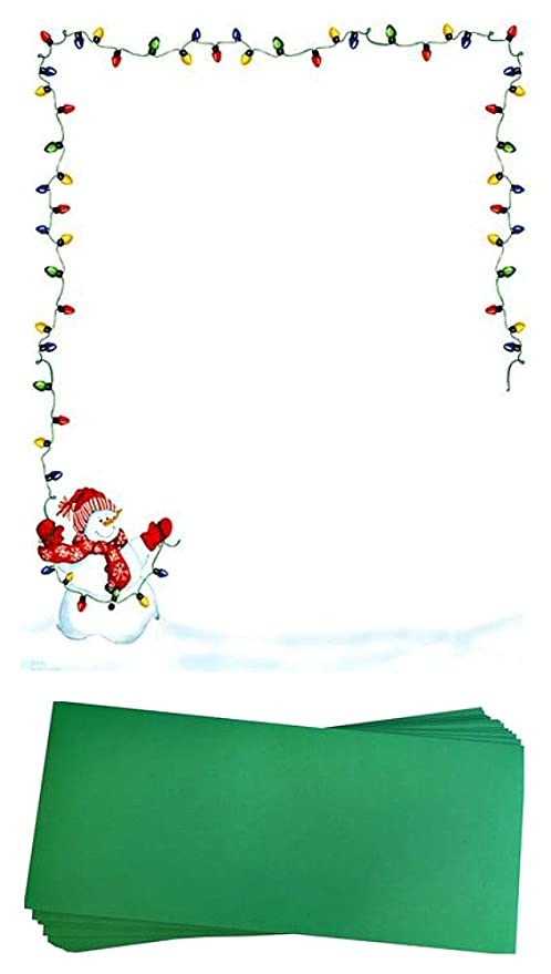 amazon com snowman with christmas lights stationery paper and
