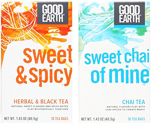 - Good Earth Tea Variety Assortment Bundle: (1) Good Earth Sweet & Spicy Tea 1.43oz and (1) Sweet Chai of Mine 1.43oz