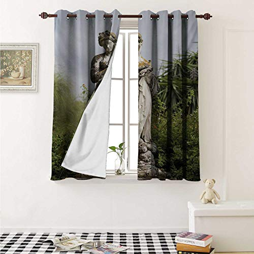 shenglv Sculptures Decor Curtains by Sculptured Figure Greenery on The Grounds of Achillion Palace Corfu Island Curtains Girls Bedroom W63 x L63 Inch Green - Crown Iron Sculpture