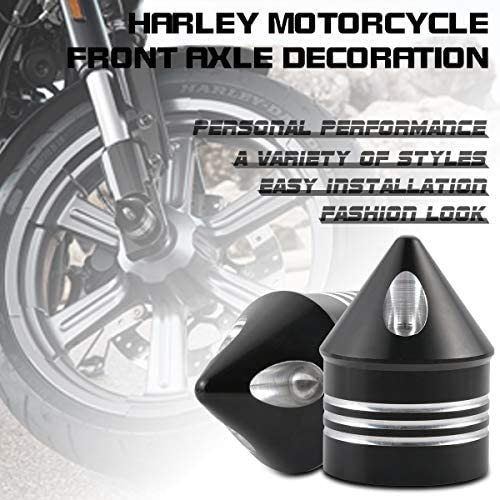 1 pair TUINCYN Motorcycle Aluminum Front Axle Cover Cap Nut Bolt Decorative Hardware Kit for Harley Dyna Softail Sportster Touring Road King FXD FXST FLHT 883 1200 XL