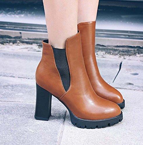 5cm Punta Brown Color Encanto Tamaño Pura Heel 10 Zapatos vestir Corte de Pump 43 Banda 32 Size Elástico Zapatos 40 Calzado no Chunkly Toe Casual return Boots Mujer Botines Ol Martin Color qYZptW