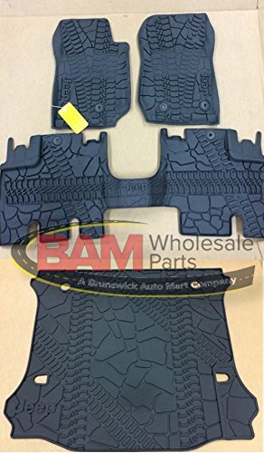 2016-2017 Jeep Wrangler Unlimited 4-Door Slush Mats Cargo Mat Kit OEM All Weather Mopar 82213860 82213184 (Jeep Wrangler 4 Piece)