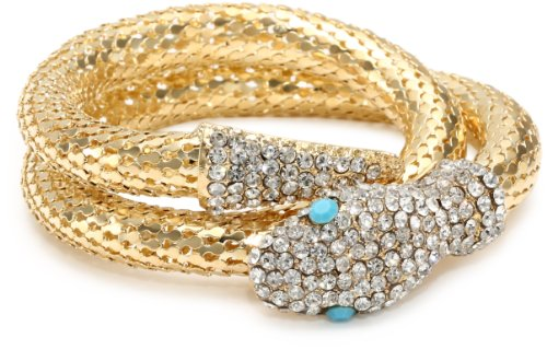 Yochi Turquoise Colored and Clear Mesh Coil Snake - Snake Turquoise Bracelets