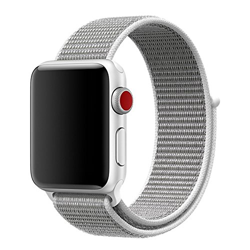 For Apple Watch Band 38mm Soft Woven Nylon Watch Sport Loop Band Breathable Replacement iWatch Band with Adjustable Closure for Apple Watch Nike+ Series 3 2 1,Seashell