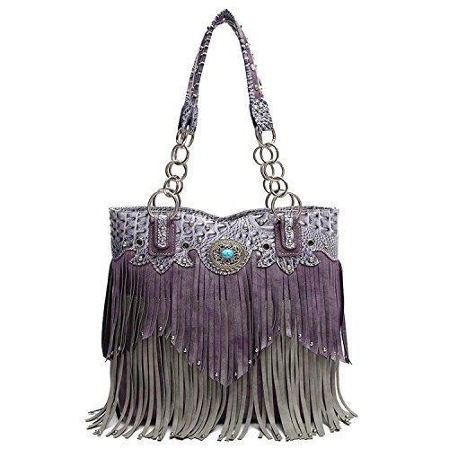 Western Fringe Tote Handbag Purse Shoulder Bag Concealed Carry Weapon (Purple)