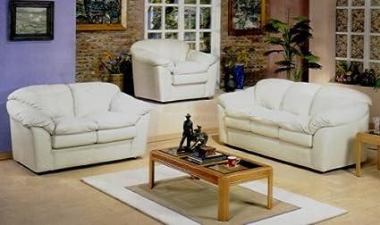 Amazon.com: 3pc Avalon Bone Color Italian Leather Chair ...