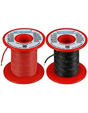 BNTECHGO 24 Gauge Silicone Wire Spool 50 ft/100ft Red Flexible 24 AWG Stranded Tinned Copper Wire