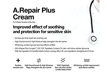 Cellapy A. Repair Plus Cream 3.38 fl.oz. with Miniature Kit for Irritable, Sensitive Dry Skin Stem Cell factors MGF, Peptides Whitening, Wrinkle Declining