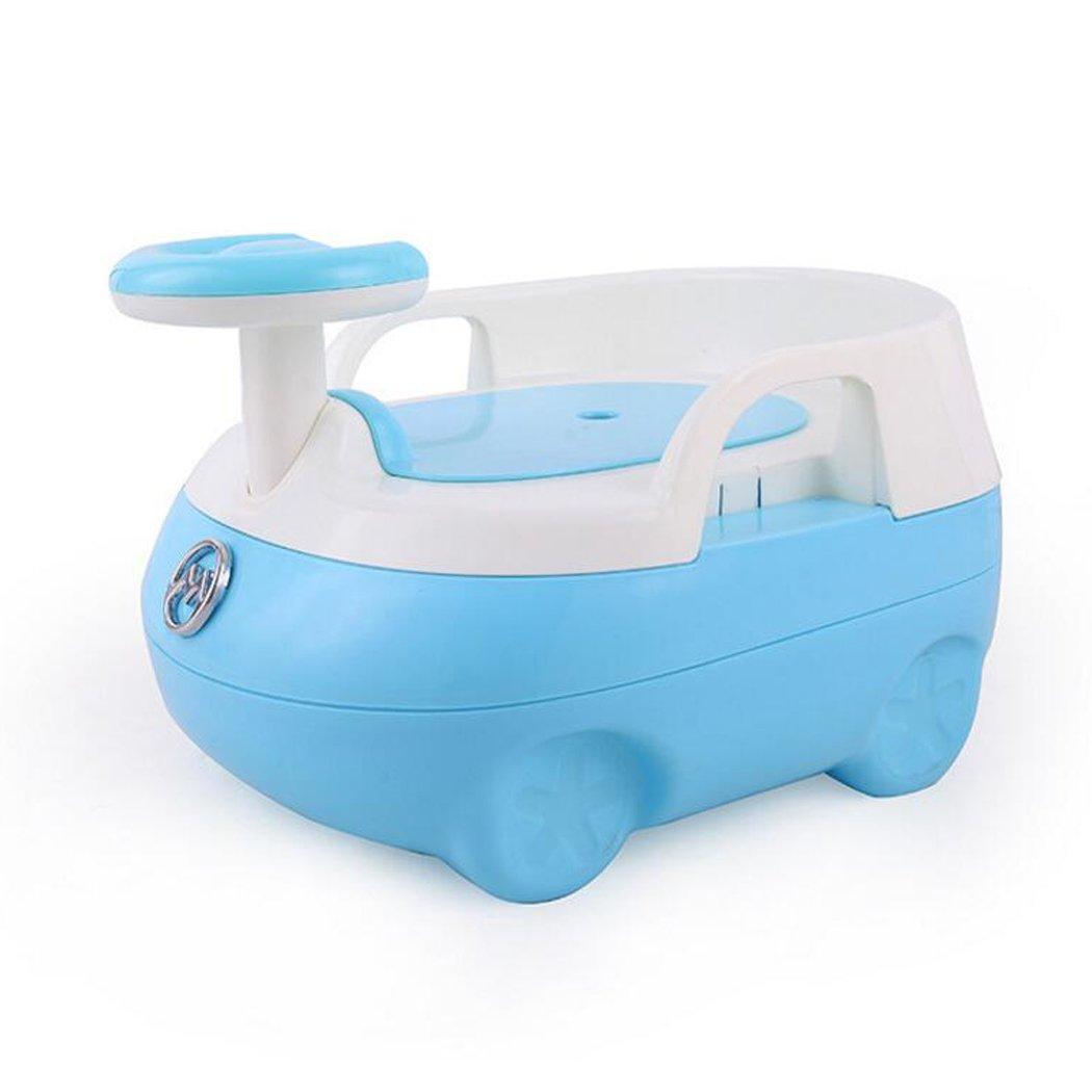 JUNBOSI Car Cartoon Potty Baby Kid Children Potties Urinal Strata Potty Chair Baby Steady Potty With Non Slip Feet Comfortable Ergonomic Design Baby Potty (Color : Blue)