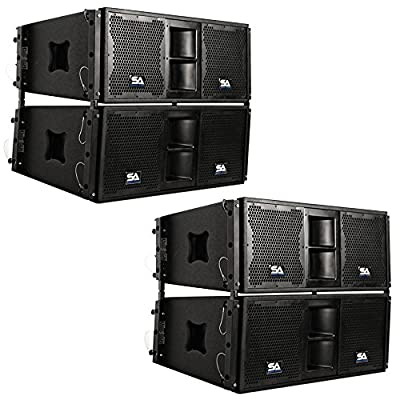 Seismic Audio - SALA-210-PKG1 - Four Passive 2x10 Line Array Speakers with Dual Compression Drivers - PA/DJ Band Live Sound by Seismic Audio