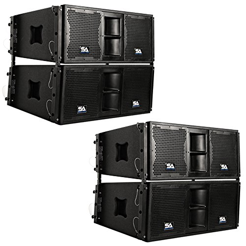 Seismic Audio - SALA-210-PKG1 - Four Passive 2x10 Line Array Speakers with Dual Compression Drivers - PA/DJ Band Live Sound