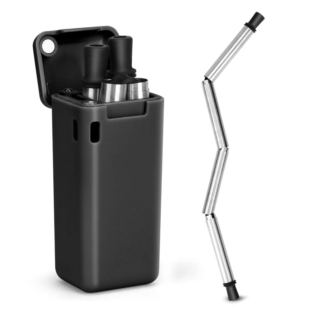 Collapsible Straw Reusable Stainless Steel, Folding Drinking Straws Keychain Foldable Final Premium Food-grade Portable Set with Hard Case Holder Cleaning Brush for Travel, Household, Outdoor-Black by Hydream