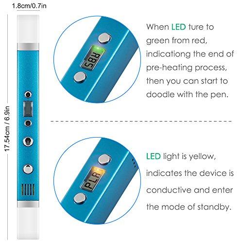 Cadeaux de No/ël Bleu YESTECH 3D Stylo pen Imprimante /à Peindre Impression St/ér/éoscopic Printing Pen avec ABS Filament Multi-couleur Pour Artisanat 3D Enfant