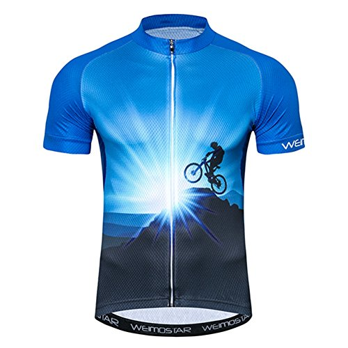 Xinzechen Men's Cycling Jersey Short Sleeve Youth Bike Shirt Top MTB Bicycle Clothing Outdoor Sports Wear Breathable Blue Sunrise Size XL ()