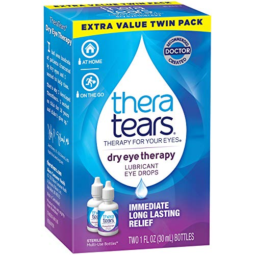 TheraTears Eye Drops for Dry Eyes, Dry Eye Therapy Lubricant Eyedrops, 30 ml, 1 Fl oz Value Size, 2 Pack (Packaging may vary)