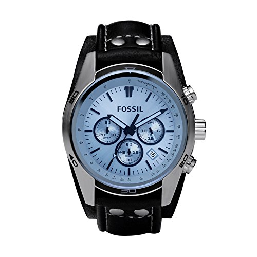 fossil-mens-ch2564-blue-glass-silver-watch-with-black-leather-cuff