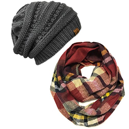 ALLYDREW Fashionable Plaid Infinity Circle Scarf Long Plaid Winter Scarf - Infinity Scarf & Beanie Set, Red/Black and Charcoal Grey Set]()