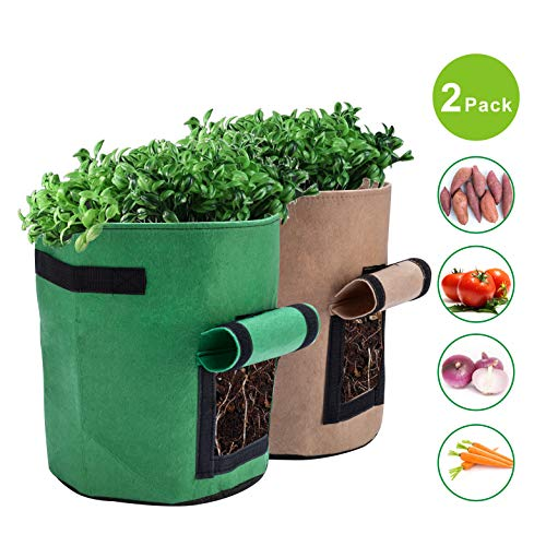 X L MAGNET Potato Grow Bags 2-Pack 7 Gallon Planter Pots Garden Bags to Grow Vegetables with Aeration Fabric Flap Handles and Window for Harvesting Fruit Flower Potato Carrot (Green & - Potato Green