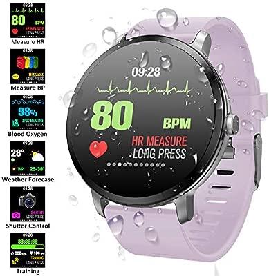 Reloj Inteligente Hombre Mujer, Qimaoo Smartwatch IP67 Impermeable Smart Watch con Pulsómetro, Monitor de presión arterial, Monitor de sueño, ...