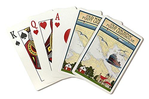 Mackinac Point Lighthouse - Mackinac, Michigan - Old Mackinac Point Lighthouse - Nautical Chart (Playing Card Deck - 52 Card Poker Size with Jokers)