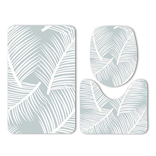 (DKISEE 3 Piece Bathroom Mat Set Palm Leaf Garden in Grey and White Washable Bath Rug Set Non Slip Carpet Bath Mat Set )