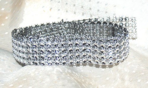 4 Row Acrylic Rhinestone Diamond Cake Ribbon Banding 2 Yards (DESIGN 1, 1)